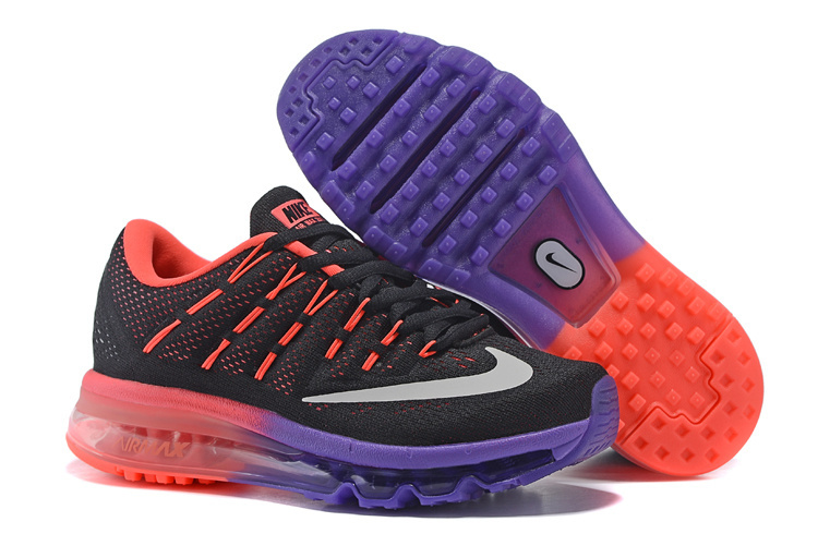 new style f21c2 f1394 806771 308 Nike Air Max 2016 Black coral Purple Running Shoe For Women s