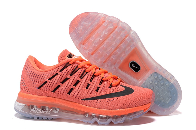 806772 800 Nike Air Max 2016 For Womens Hyper Orange Black Sunset Glow Trainers