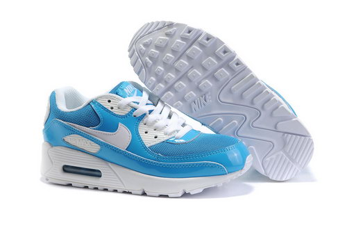 Air Max 90 Womens All White Blue Sweden