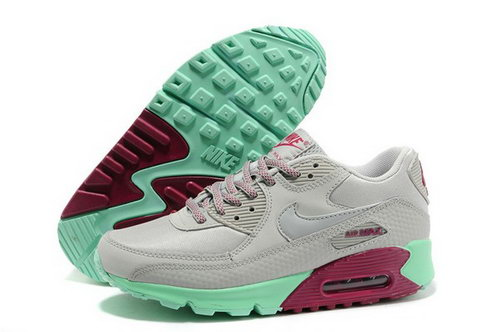 Air Max 90 Womens Shoes Light Gray Green Red Reduced
