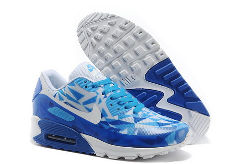 Nike Air Max 90 Hyp Prm Unisex Blue White Jogging Shoes Italy