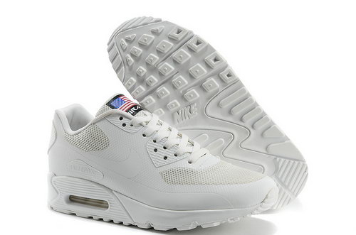 Nike Air Max 90 Hyp Qs Men All White Running Shoes For Sale