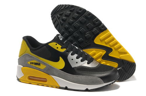 Nike Air Max 90 Hyperfuse Men Gray Yellow Running Shoes Cheap