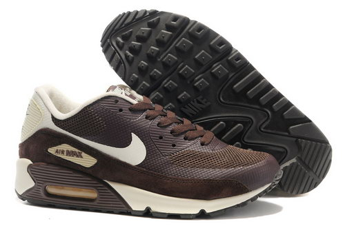 Nike Air Max 90 Hyperfuse Unisex Brown White Running Shoes Reduced