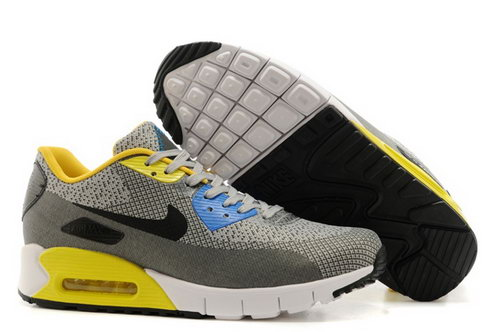 Nike Air Max 90 Jacquard Mens Gray Yellow Black Hot Uk