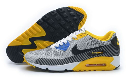 Nike Air Max 90 Jacquard Mens Shoes Light Gray Yellow Online Store