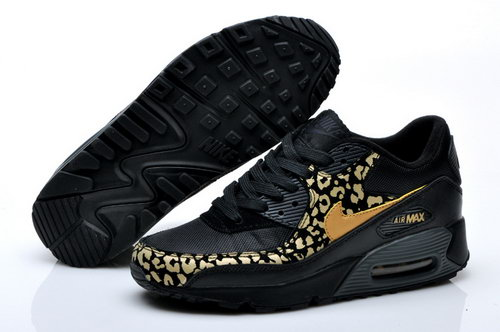 Nike Air Max 90 Mens Leopard Print Black Gold For Sale