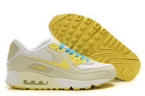 Nike Air Max 90 Mens Shoes Beige White Yellow Blue Clearance
