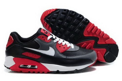 Nike Air Max 90 Mens Shoes Black Cool Grey White University Red Korea