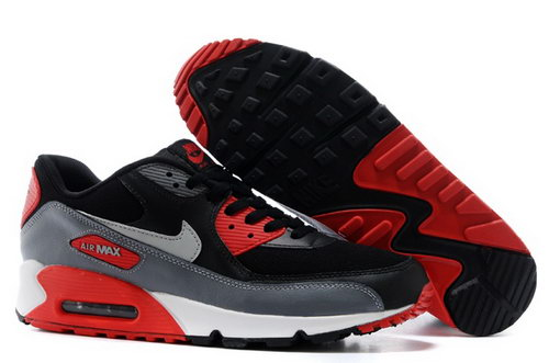 Nike Air Max 90 Mens Shoes Black Silver Red Special Cheap