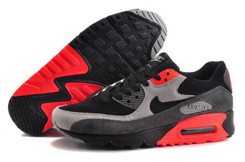 Nike Air Max 90 Mens Shoes Hot Black Gray Light Red Online Shop