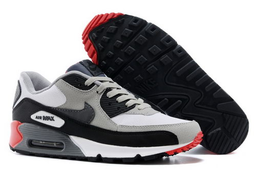 Nike Air Max 90 Mens Shoes Light Gray Black Red New Wholesale