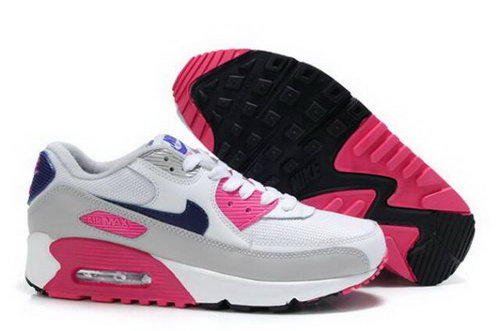 Nike Air Max 90 Womens Shoes White Pink Cool Grey Obsidian Discount