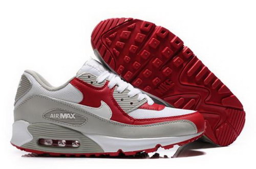 Nike Air Max 90 Womens Shoes White Varsity Red Grey