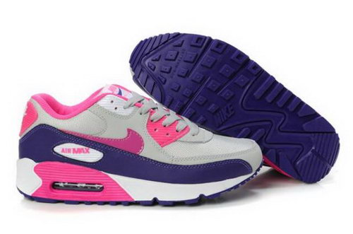 Nike Air Max 90 Womens Shoes Wolf Grey Pink Club Purple Outlet Online