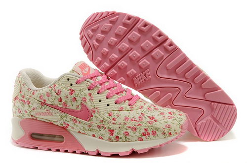 Nike Air Max 90 Womens Running Shoes Flower Baby Pink Gray Outlet