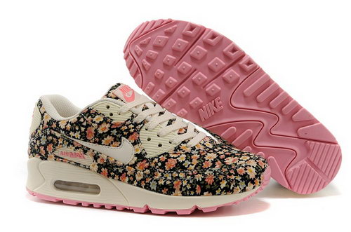Nike Air Max 90 Womens Running Shoes Flower Baby Pink White Discount