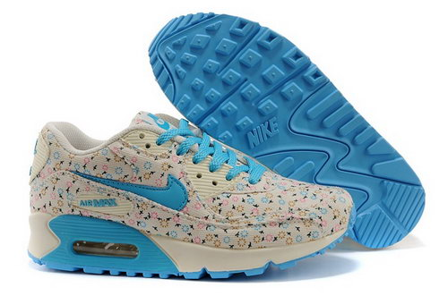 Nike Air Max 90 Womens Running Shoes Flower Gray Blue Denmark