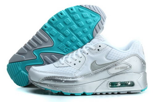 Nike Air Max 90 Womens Running Shoes Silver Green Gray France