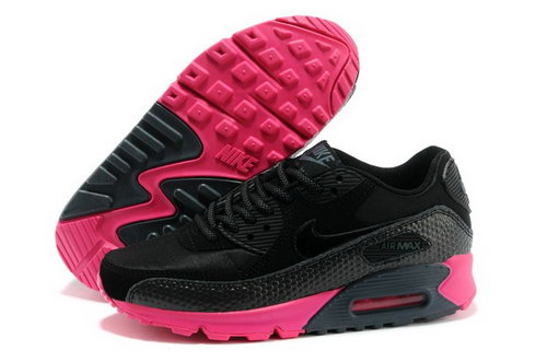 Nike Air Max 90 Womens Shoes All Black Red Sweden