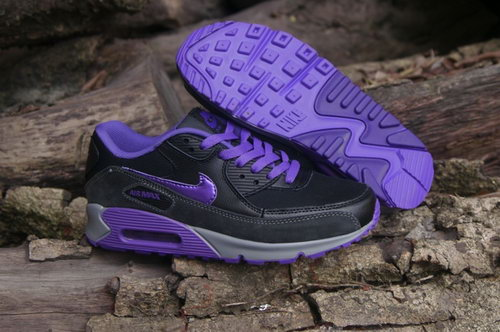 Nike Air Max 90 Womens Shoes Black Purple Hot New For Sale