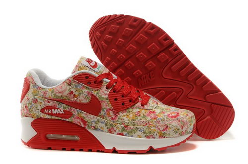 Nike Air Max 90 Womens Shoes Brown Red Flower New Greece