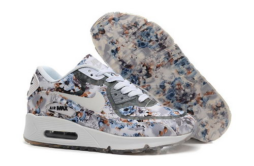 Nike Air Max 90 Womens Shoes Flower Gray White Special Online