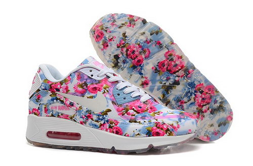 Nike Air Max 90 Womens Shoes Flower Pink Blue White Special France