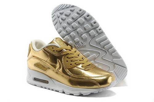 Nike Air Max 90 Womens Shoes Gold Hot On Sale Cheap