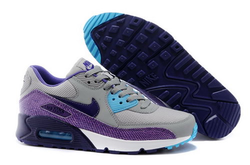 Nike Air Max 90 Womens Shoes Gray Purple Blue Special Discount Code