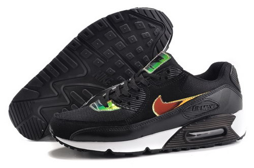 Nike Air Max 90 Womens Shoes Hot Black Green Mago White Outlet