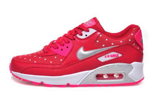 Nike Air Max 90 Womens Shoes Hot New Peach Red Silver White Greece