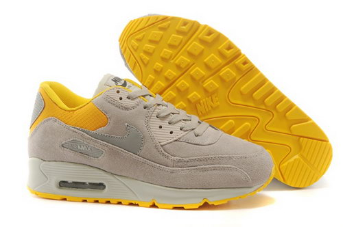 Nike Air Max 90 Womens Shoes Hot On Sale Light Gray Yellow Online Shop