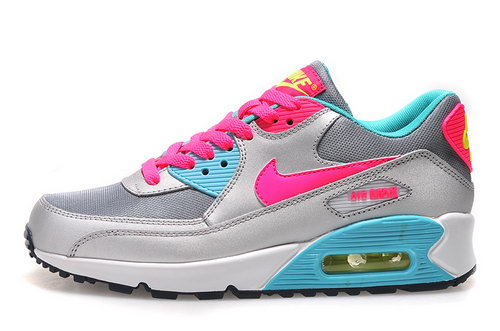Nike Air Max 90 Womens Shoes New Silver Pink Sky Blue Hot Canada