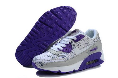 Nike Air Max 90 Womens Shoes New White Purple Outlet Store