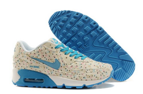 Nike Air Max 90 Womens Shoes Online Light Gray Flower Blue Sky Factory Outlet