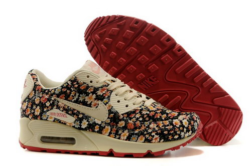 Nike Air Max 90 Womens Shoes Online Light Gray Flower Brown Inexpensive