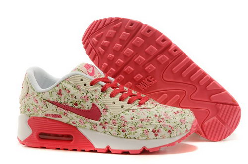 Nike Air Max 90 Womens Shoes Online Light Gray Flower Pink New Zealand