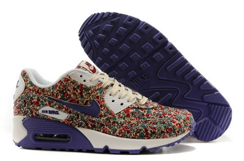 Nike Air Max 90 Womens Shoes Online Light Gray Flower Purple Light Factory