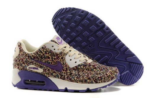 Nike Air Max 90 Womens Shoes Online Light Gray Flower Purple Low Price