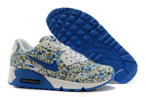 Nike Air Max 90 Womens Shoes Online White Flower Blue Ocean Italy