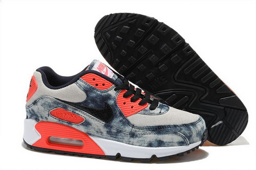 Nike Air Max 90 Womens Shoes Street Jeans Blue Orange Special Cheap