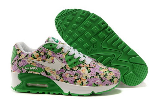 Nike Air Max 90 Womens Shoes White Brown Green Flower New Coupon