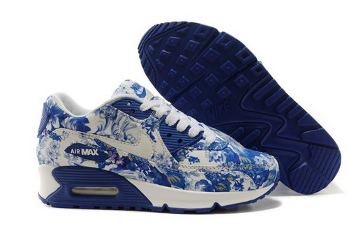 Nike Air Max 90 Womens Shoes White Deep Blue Flower New Sweden