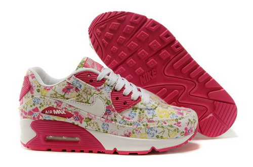 Nike Air Max 90 Womens Shoes White Pink Flower New Canada