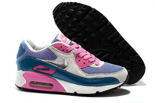 Nike Air Max 90 Womens Shoes White Purple Peach Red Outlet