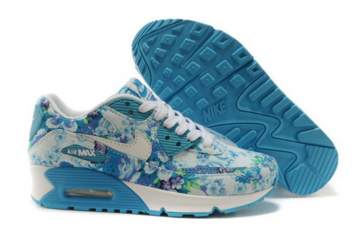 Nike Air Max 90 Womens Shoes White Sky Blue Flower New Uk