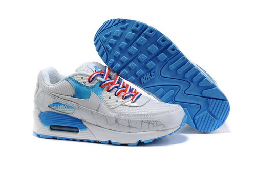 Nike Air Max 90 Womens Shoes Wholesale White Blue Online Store