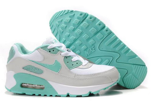 Nike Air Max 90 Womens Shoes Wholesale White Gray Green Outlet Store