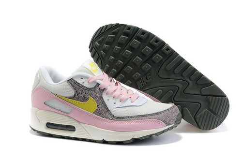 Nike Air Max 90 Womens Shoes Wholesale White Pink Yellow Brown Korea